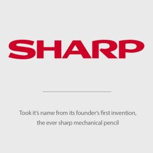 Tên Sharp được lấy tên từ sáng chế đầu tiên của người sáng lập, bút chì cơ khí Eversharp.